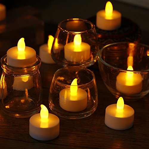 comenzar Realistic and Bright Flameless LED Tea Light Battery Operated Set of 24 - for Seasonal & Festival Celebration