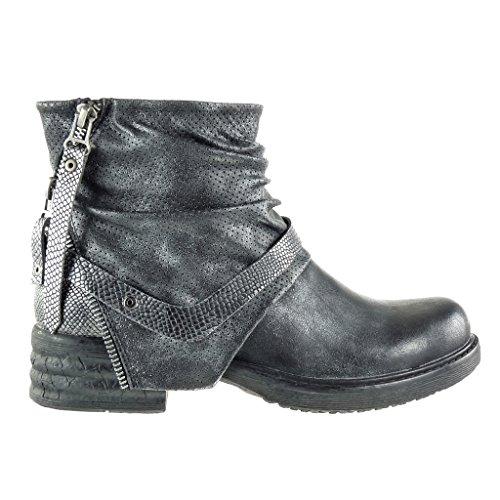 Nodo Piel Ancho cm Talón Camuflaje 3 Serpiente Zapatillas Angkorly Cavalier Tacón Negro Moda de Bimaterial Botines 5 Mujer SPzSYwgqOx