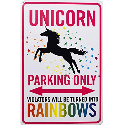 (Soaring Unicorn Parking Only Sign,Violators Will Be Turned Into Rainbows,Sign Parking Only Home Poster Gift Photo Shoot Prop,Funny Metal Wall Décor,8x12 Inches)