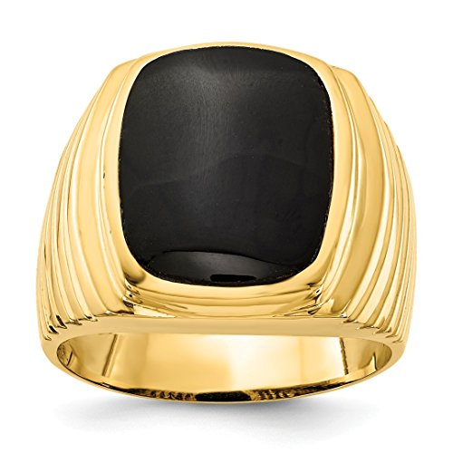 (14k Yellow Gold Mens Black Onyx Band Ring Size 9.00 Man Fine Jewelry Dad Mens Gift Set)