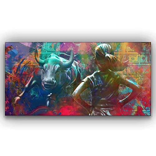 Wall Street Charging Bull Fearless Girl Motivational Wall Art Canvas Print, Office Decor, Inspiring Framed Prints, Inspirational Entrepreneur Quotes for Wall Art Decoration (24