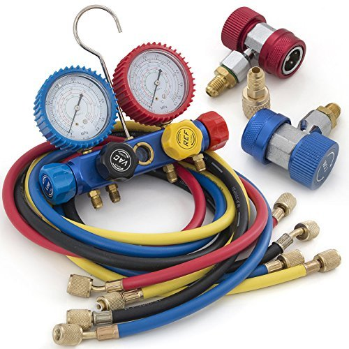 ARKSEN Air Conditioner Refrigerant R410 R22 R134 R407C AC Manifold Gauge Set 5FT Colored Hose
