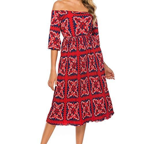 (Copercn Women's Classical Ethnic Style/Polka Dot Print Strapless Half Sleeve Off Shoulder Wrap Waist Backless Slim Midi Dresses Swing Tube Dresses Summer Refreshing Elegant Dresses Cocktail Dresses)