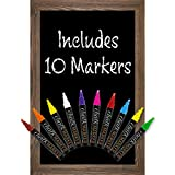 Rustic Brown Magnetic Wall Chalkboard Sign: Includes 10 Liquid Chalk Markers 20''x30'' Wooden Hanging Chalk Sign for Kitchen Wall Decor, Restaurant Menu Board and Wedding Sign / Hangs in Both Directions