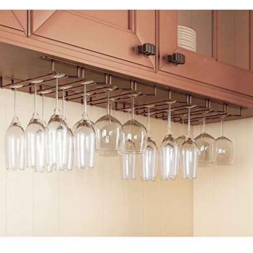 Stemware Glass Rack , Oil Rubbed Finish Wine Glass Hanger Under Cabinet Storage Bar or Kitchen by Rack and Hook