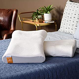 Tempur-Pedic TEMPUR-Ergo Advanced Neck Relief Pillow, Contoured Soft and Firm Support, Standard, White