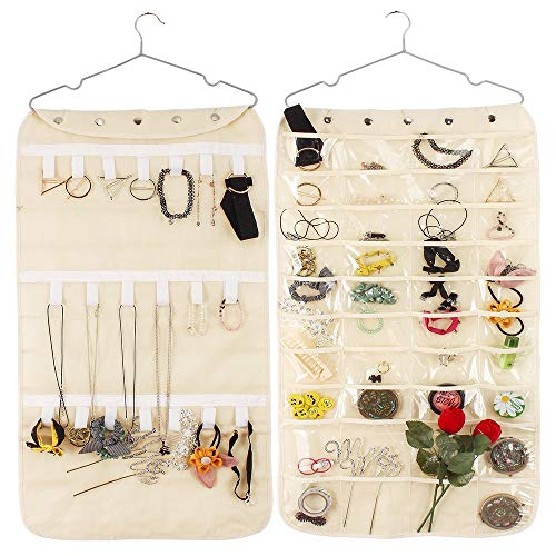 HUSTON LOWELL Hanging Jewelry Organizer Double Sided 40 Pockets & 20 Magic Tape Hook Storage Bag Closet Storage for Earrings Necklace Bracelet Ring Display Pouch - Canvas Armoire