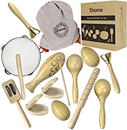 related image of Ehome Toddler Musical Instruments, Natural Wood Percussion