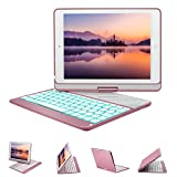 Image of New iPad 9.7 Keyboard Case, GreenLaw 7 Color Backlit Keyboard Case Cover 360° Rotate Smart Keyboard Case with Auto Wake/Sleep for iPad pro 9.7, 2017 New iPad 9.7, iPad Air, iPad Air 2 (rose gold)