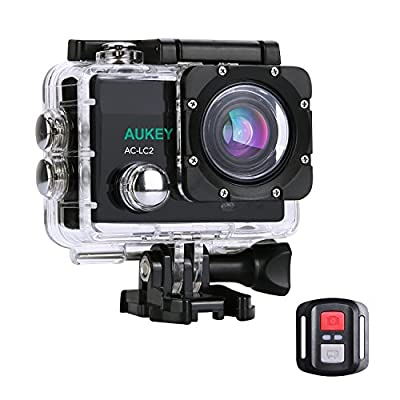 [Upgraded Version] AUKEY Action Camera, 4K Ultra HD Waterproof Underwater Sports Camera with 170 Degree Wide-Angle Lens, WiFi Phone Connection and 2.4GHz Remote from AUKEY