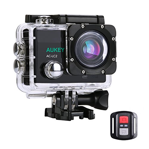 AUKEY Action Camera, 4K Ultra HD Waterproof Underwater Sports Camera with 170 Degree Wide-Angle Lens, WiFi Phone Connection and 2.4GHz Remote AUKEY