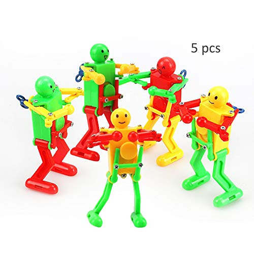 - HanYoer Colorful Spring Wind-up Dancer Dancing Walking Robot Toy for Baby Kid Children,Robot Buddies for Kids Role Playing, Robots Theme Party Activity(5 pcs)