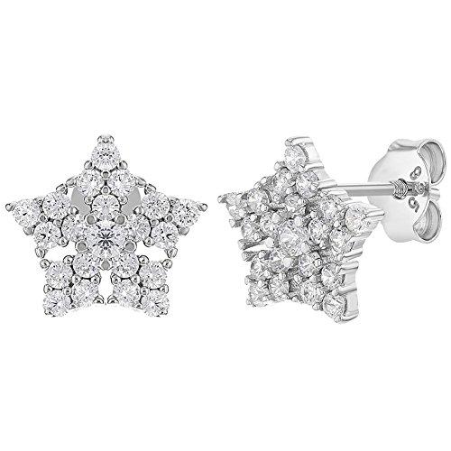 4ddf421f662d In Season Jewelry - 925 Plata de Ley Circonitas Claras Pendientes de Copo  de Nieve con