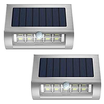 Solar Powered Wall Lights [2PCS], MoKo Waterproof PIR Motion Sensor Lights with Wide Angle Illumination Outdoor Wireless Security Night Light Lamp for Garden, Yard, Patio, Pathway, Driveway - SILVER