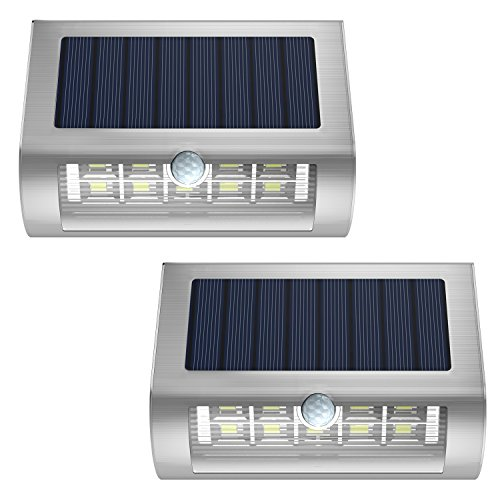 MoKo Solar Powered Wall Lights [2PCS], Waterproof PIR Motion Sensor Lights with Wide Angle Illumination Outdoor Wireless Security Night Light Lamp for Garden, Yard, Patio, Pathway, Driveway - Silver