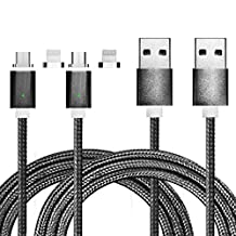 First2savvv grey 2 in 1 Micro and 8 Pin Ligntning Magnetic USB Cable, USB Data Sync and Charge Cable for Apple iOS Lightning Devices and all Android phones- iPhone 6s, iPhone 7 6s Plus, iPhone 6, iPhone 6 Plus, iPhone 5, iPhone 5c, iPhone 5s, iPad Mini, iPad Pro, iPad 4 with retinal screen, Samsung Galaxy S7 Edge S6 S5 Huawei Mate 7 etc *Supper Strong Magnetic* -CTX-SA-X2