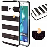 Galaxy S6 Edge Plus case, Hybrid Fancy Colorful Pattern Hard Bumper Case Fit for Samsung Galaxy S6 Edge Plus (white and black)