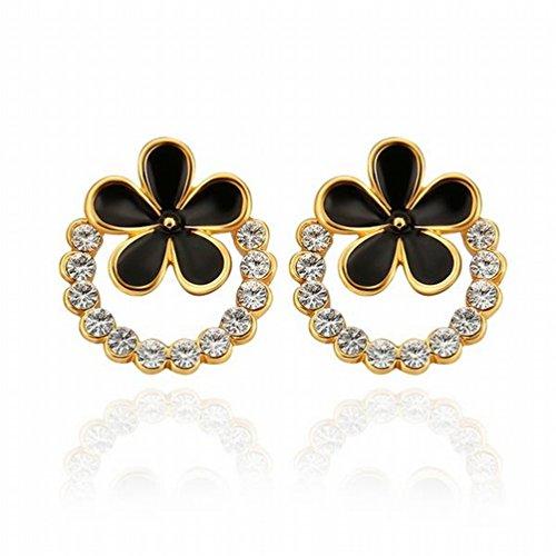 MOMO Protection de L'environnement Boucles D'oreille en Fleur de Platine Bijoux en Dames / Acier Inoxydable / Anti-allergique / Argent Clignotant / Diamants / Zircone Fabriqué