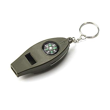 WPCBAA 4 en 1 Brújula Termómetro Whistle Magnifier Versátil ...