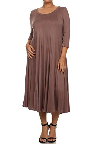 (Plus Size) Solid Color Short Sleeve Scoop Neck Short Dress (MADE IN U.S.A)