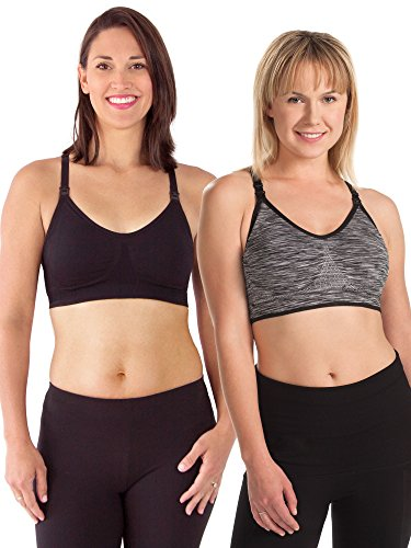 Loving Moments by Leading Lady Wireless Seamless Sports Nursing Bra, Black & Grey Set, XL