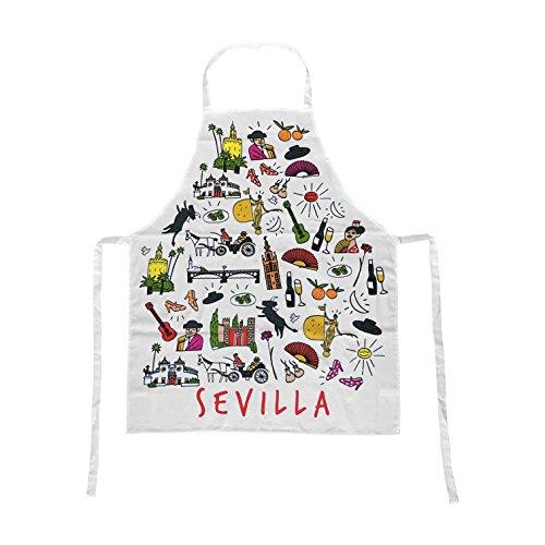 Delantal Blanco 100% Algodón Souvenir con Motivos Típicos de Sevilla Andalucia España. Delantales para Hombres y Mujeres.: Amazon.es: Hogar