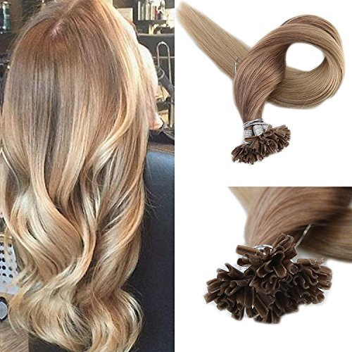 Full Shine 16 1g Per Strand 50 Strands Per Pack Ombre Color #12 Light Golden Brown Fading to #24 Light Blonde Prebonded Nail Tip Hair Extensions Keratin U Tip Fusion Remy Human Hair