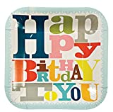 Meri Meri Happy Birthday Patterned Party 7.25-Inch Small Square Plates, 12-Pack, Health Care Stuffs