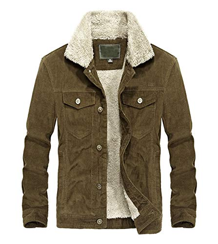 Chartou Men's Vintage Button-Front Sherpa Lined Shearling Slim Fit Corduroy Denim Jacket (Medium, ()