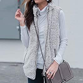 BOLUOYI Women's Casual Sherpa Fleece Vest Zip up Warm Cardigan Waistcoat Outerwear