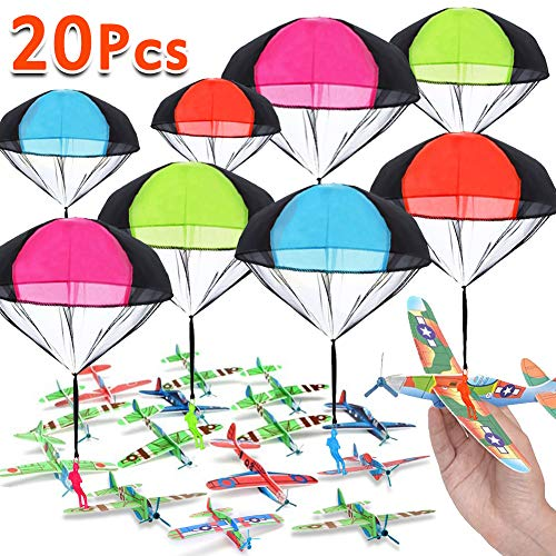 20 Pack Parachute Toy & Glider Planes party favors for kids Outdoor toys Flying Toys airplanes Soldiers parachute Throwing Toy kids party games pack School Prizes (12pcs+ 8pcs/ No Battery Required) ()