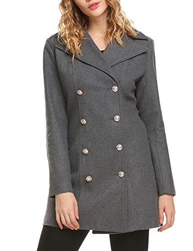 Zeagoo Women's Double-Breasted Wool-Blend Boucle Coat Grey XXL