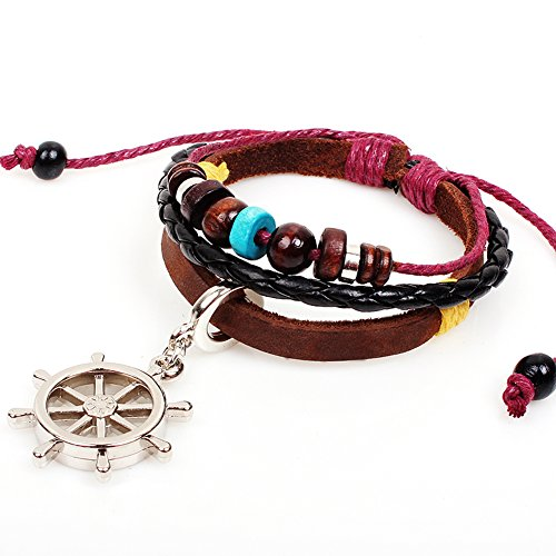 [Rudder Leather Bracelet Pirates of the Caribbean Style Cortical Beaded Handmade Bangle Adjustable] (Homemade Pirate Costumes Ideas For Women)