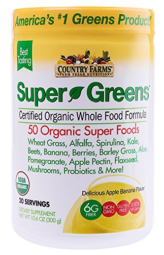 Country Farms Super Greens Banana flavor, 50 Organic Super Foods, USDA Organic Drink Mix, 20 (Essential Greens Apple Banana)