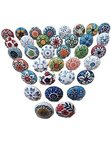 ... Kitchen Bathroom Bedroom Silver. 20 Mix Vintage Look Flower Ceramic  Knobs Door Handle Cabinet Drawer Cupboard Pull 26363eb5fe4f
