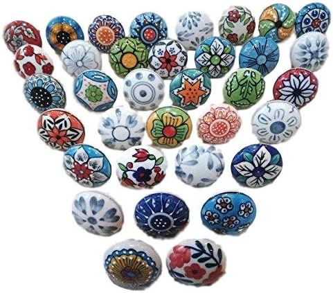 20 pomos de cerámica con diseño de flores vintage para puerta de armario, cajón, armario
