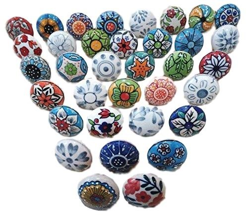 20 x Mix Vintage Look Flower Ceramic Knobs Door Handle Cabinet Drawer Cupboard Pull