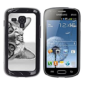 Cubierta protectora del caso de Shell Plástico || Samsung Galaxy S Duos S7562 || Black White Kitten Cute Pet @XPTECH