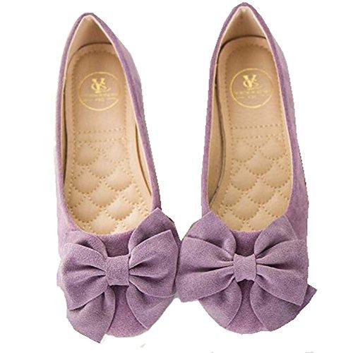 Hattie Women's Round Toe Slip On Ballet Flats Faux Suede Pumps With Bow Purple rCv7tM