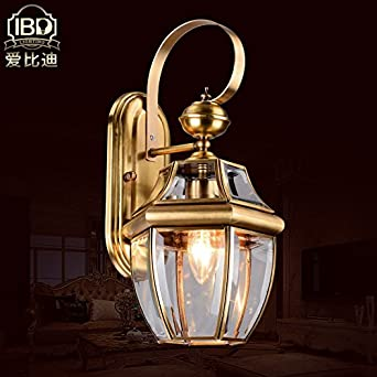 bbslt Fettleder der Außenwand Lampe voller Stil Messing ...