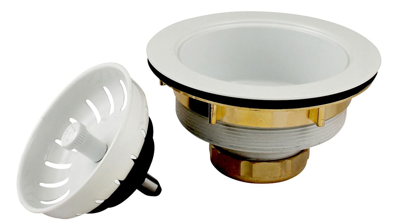 Plumb Pak K1439WH Keeney Deep Thread Cast Brass Sink Power Ball Basket, Complete Kitchen Strainer 3.5'', White Finish