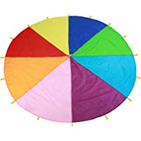 Kids Parachute Giant Multicolored Kid's Play Parachute Canopy with 16 Handles Indoor & Outdoor Games and Exercise Toy Promote Teamwork Fitness Social Bonding