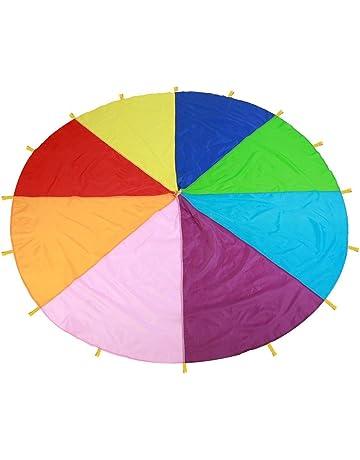 d5bba93e0244 ... m de Longitud). TMISHION Paracaídas, Rainbow Parachute los niños Juegos  Kindergarten Juguete de educación temprana para Fiestas Deportes