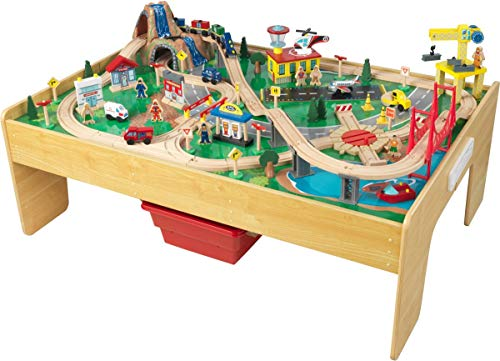 KidKraft Adventure Town Railway Train Set & Table with Ez Kraft Assembly, Natural (Kidkraft Wooden Waterfall Mountain Train Table And Set)