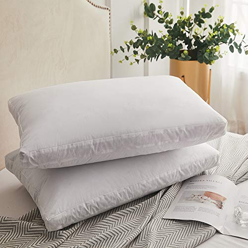 Feather Down Bed - Decroom Natural Goose Duck Down Feather Pillows for Sleeping,Gusseted Bed Pillow Inserts with 100% Cotton Cover, Standard Size,Set of 2