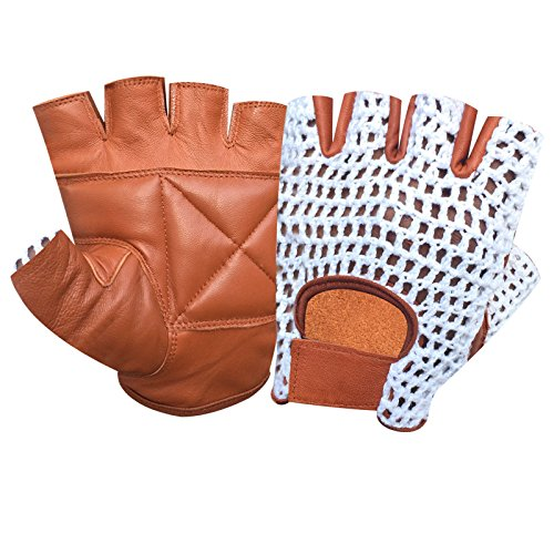 Top Quality Finger Less Net Gloves Cycle Biker Gym Cycling Driving Body Building Weight Lifting Leather with Mesh 403 (TAN-WHITE, M)