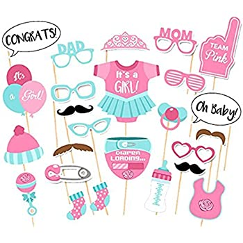 Good Itu0027s A Girl Baby Shower Party Photo Booth Props Kits On Sticks Set Of 25pcs