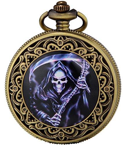 SEWOR Fashion Bronze Quartz Enamel Painting Pocket Watch Black Dial + Leather Gift Box (Grim Reaper) -