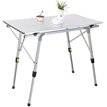SNAIL Aluminum Height Adjustable Folding Camping Collapsible Table Outdoor  Roll Up Table For Beach,