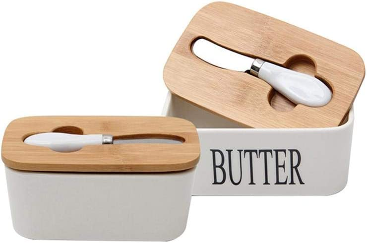 Summeishop Wood Cover Cheese Butter Container Tray 6Nordic Butter Seal Ceramic Box with Butter White Plate